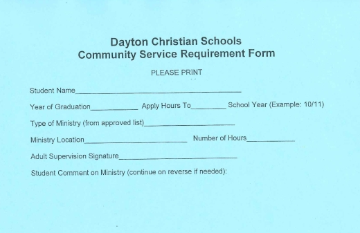 For your convenience Community Service Hours Reporting Form – Service Hour Form