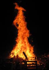 Bonfire blazing
