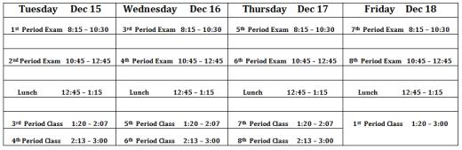 1st Semester Exam Schedule