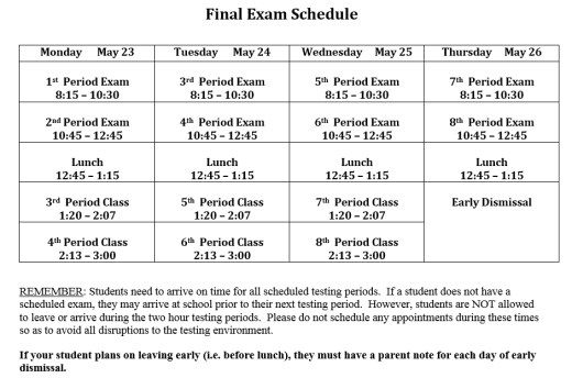 Final Exam Schedule 2016