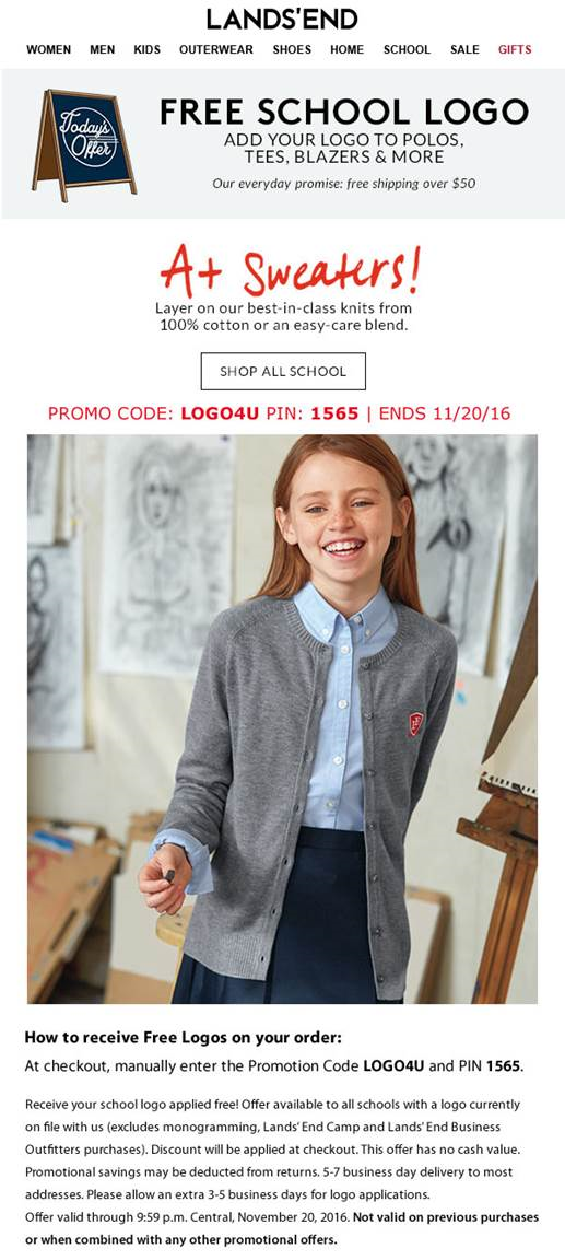 Find lots for amazing corporate apparel and business uniforms at Lands' End Business Outfitters and feel free to use the coupon code to benefit from FREE logos and complimentary shipping service on purchases of $ or higher!5/5.